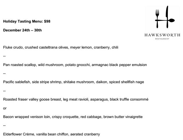 hawksworth menu